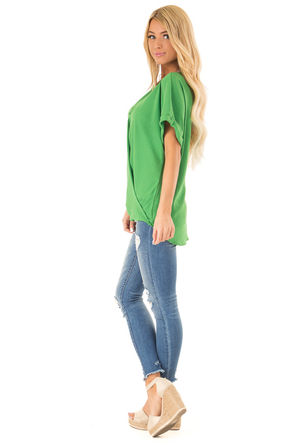 Grass Green V Neck Surplice Top with Short Cuffed Sleeves side full body