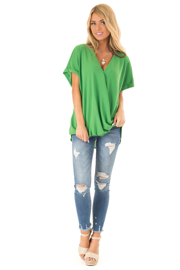 Grass Green V Neck Surplice Top with Short Cuffed Sleeves front full body