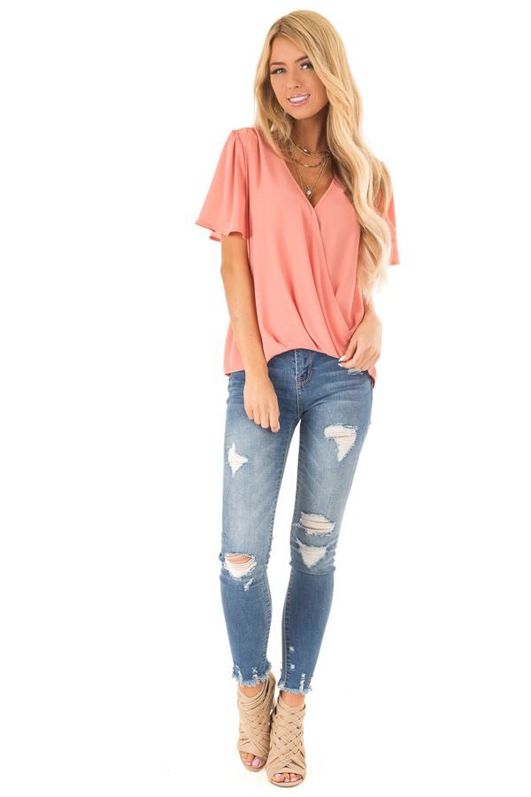 Coral V Neck Crossover Top with Bubble Hem front full body