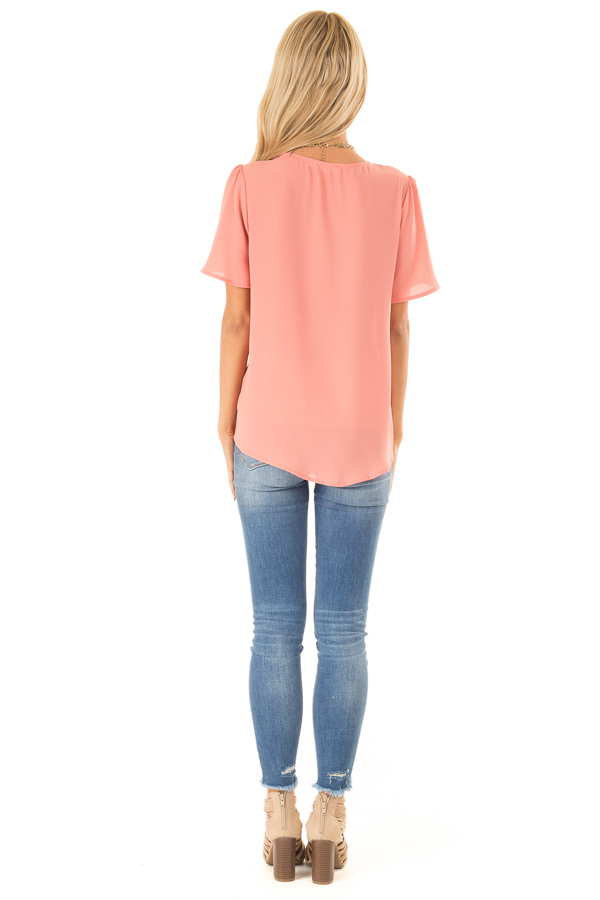 Coral V Neck Crossover Top with Bubble Hem back full body