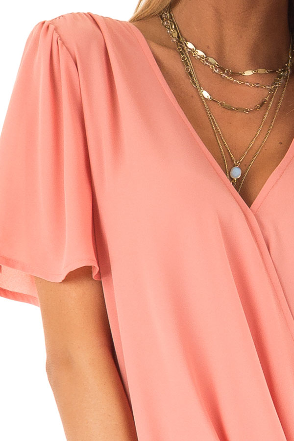 Coral V Neck Crossover Top with Bubble Hem detail