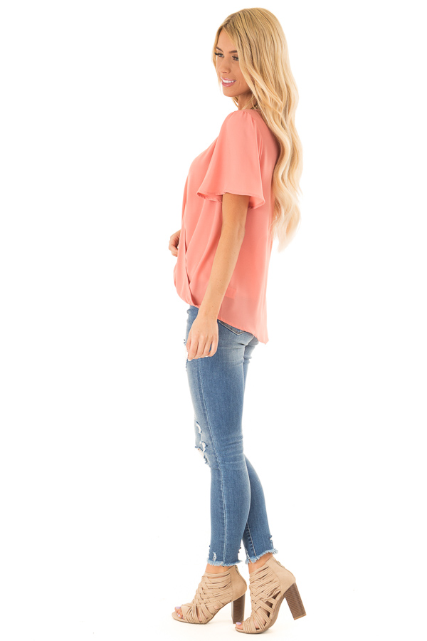 Coral V Neck Crossover Top with Bubble Hem side full body