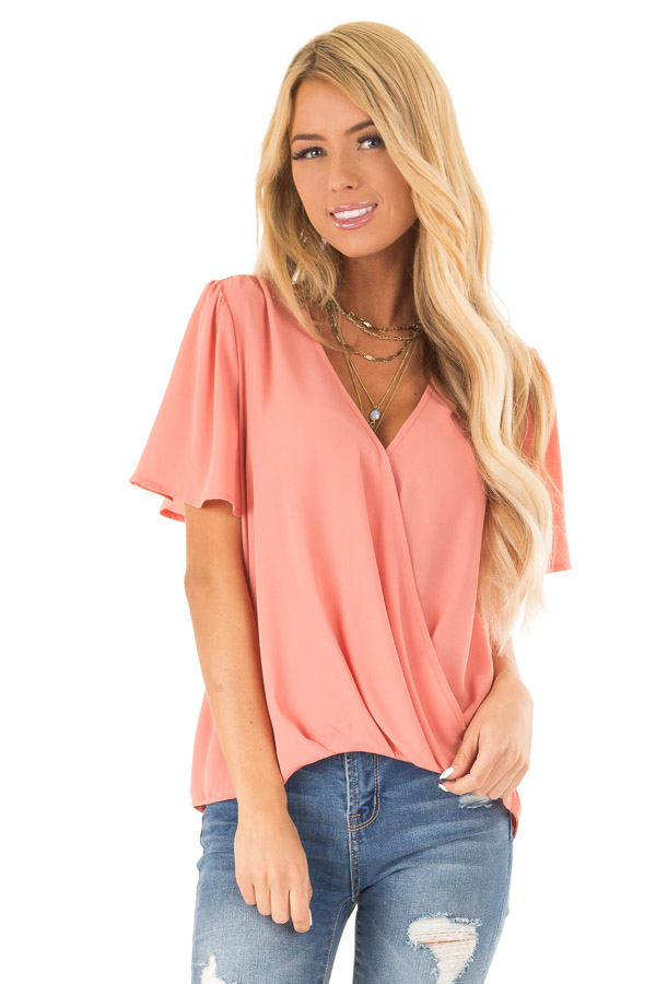 Coral V Neck Crossover Top with Bubble Hem front close up