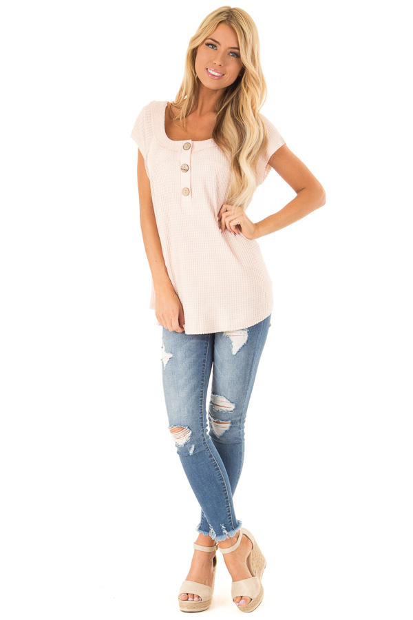 Baby Pink Short Sleeve Waffle Knit Babydoll Top with Buttons front full body
