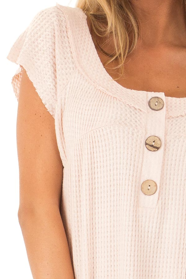 Baby Pink Short Sleeve Waffle Knit Babydoll Top with Buttons detail