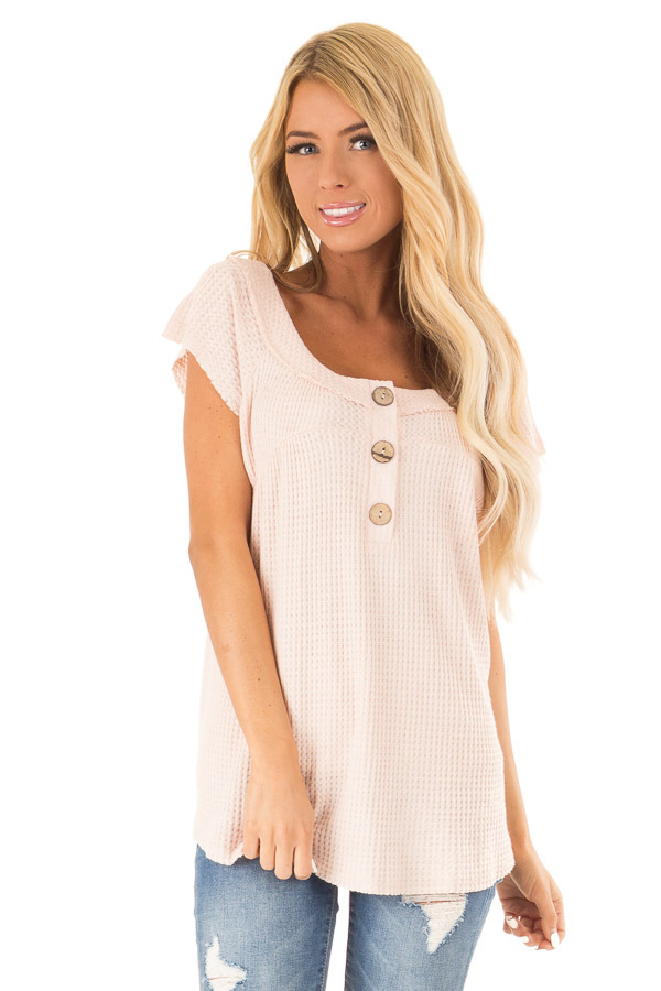 Baby Pink Short Sleeve Waffle Knit Babydoll Top with Buttons front close up