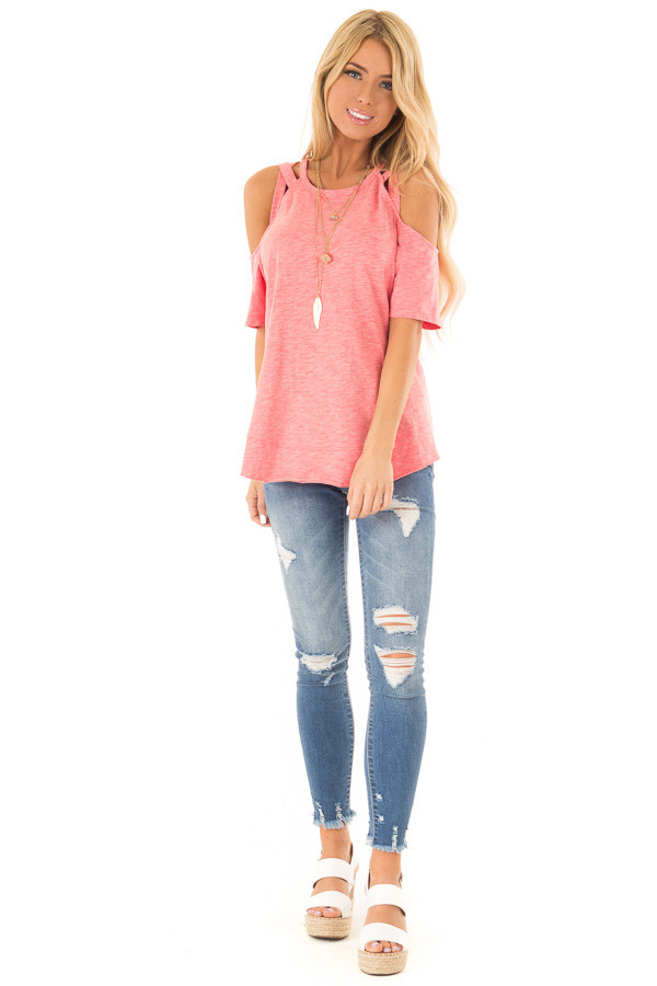 0c1222b1380 Watermelon Short Sleeve Top with Criss Cross Cold Shoulders front full body