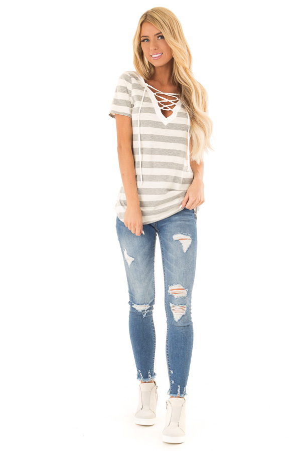 Heather Grey and Cream Striped Top with Lace Up Neckline front full body