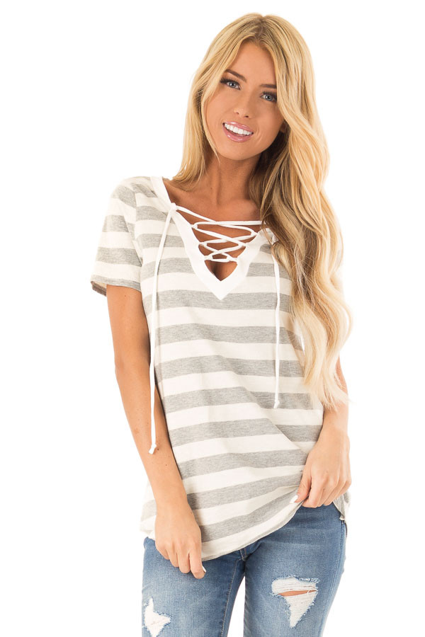 Heather Grey and Cream Striped Top with Lace Up Neckline front close up