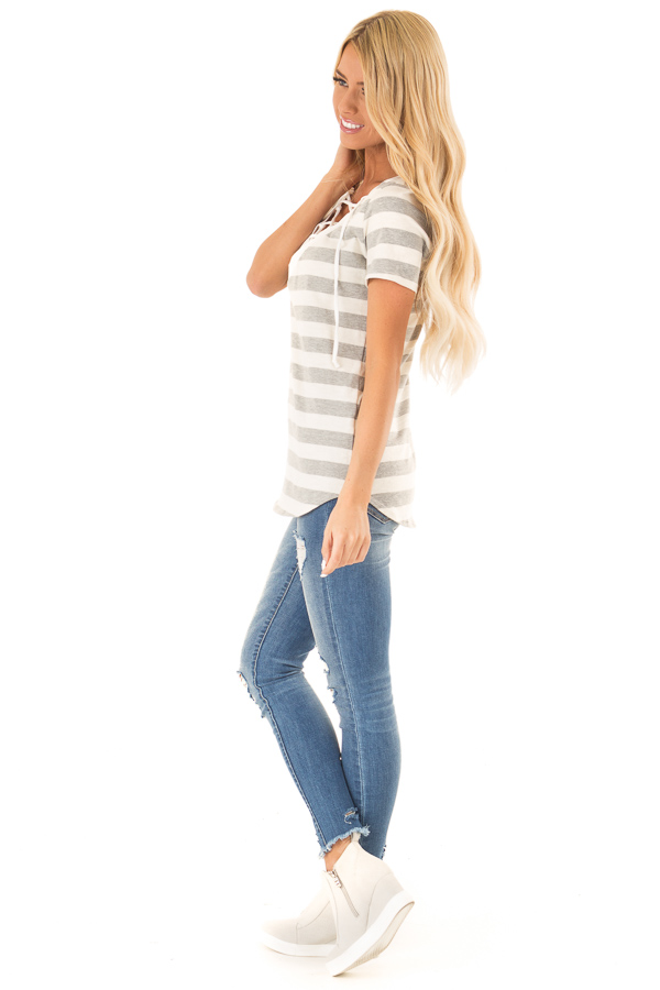 Heather Grey and Cream Striped Top with Lace Up Neckline side full body