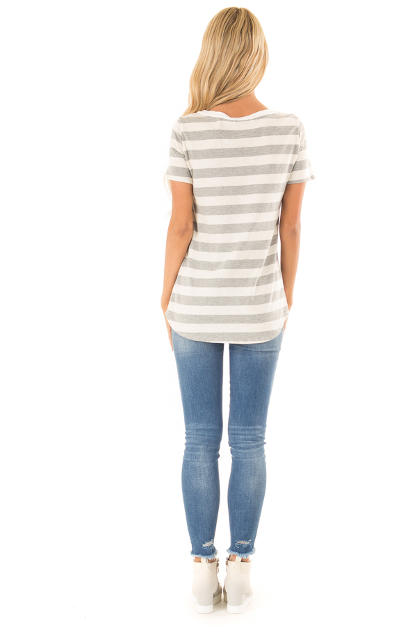 Heather Grey and Cream Striped Top with Lace Up Neckline back full body