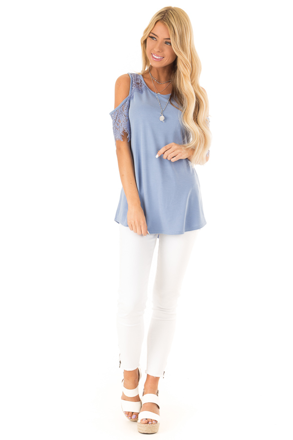 Dusty Blue Cold Shoulder Top with Lace Contrast Short Sleeve front full body