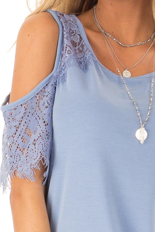 Dusty Blue Cold Shoulder Top with Lace Contrast Short Sleeve detail