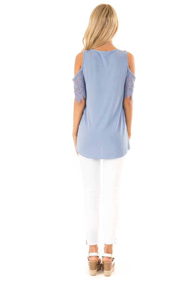 Dusty Blue Cold Shoulder Top with Lace Contrast Short Sleeve back full body