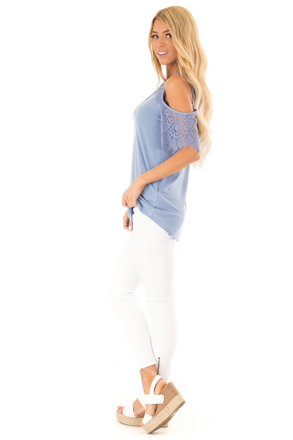 Dusty Blue Cold Shoulder Top with Lace Contrast Short Sleeve side full body