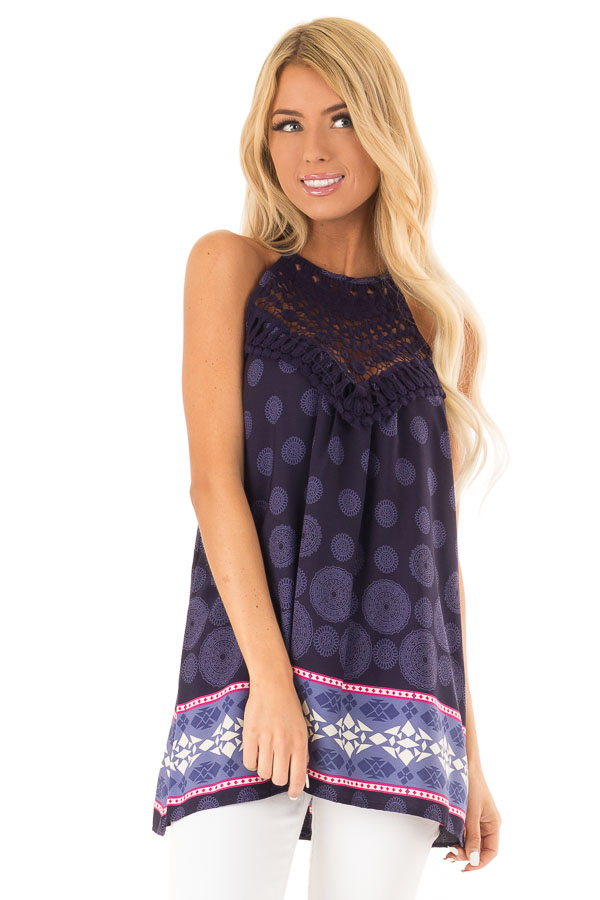 Eggplant Multi Print Halter Tank with Crochet Detail front close up