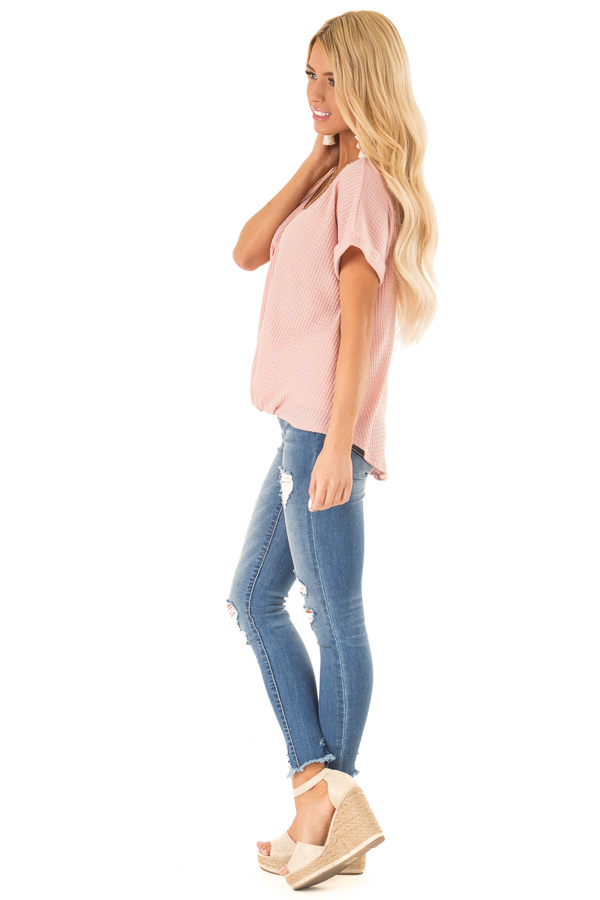 Blush Pink Waffle Knit Bubble Hem Top with Shoulder Cutouts side full body