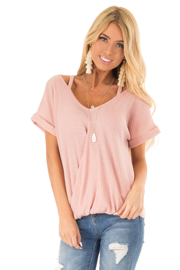 Blush Pink Waffle Knit Bubble Hem Top with Shoulder Cutouts front close up