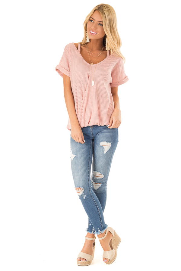 Blush Pink Waffle Knit Bubble Hem Top with Shoulder Cutouts front full body