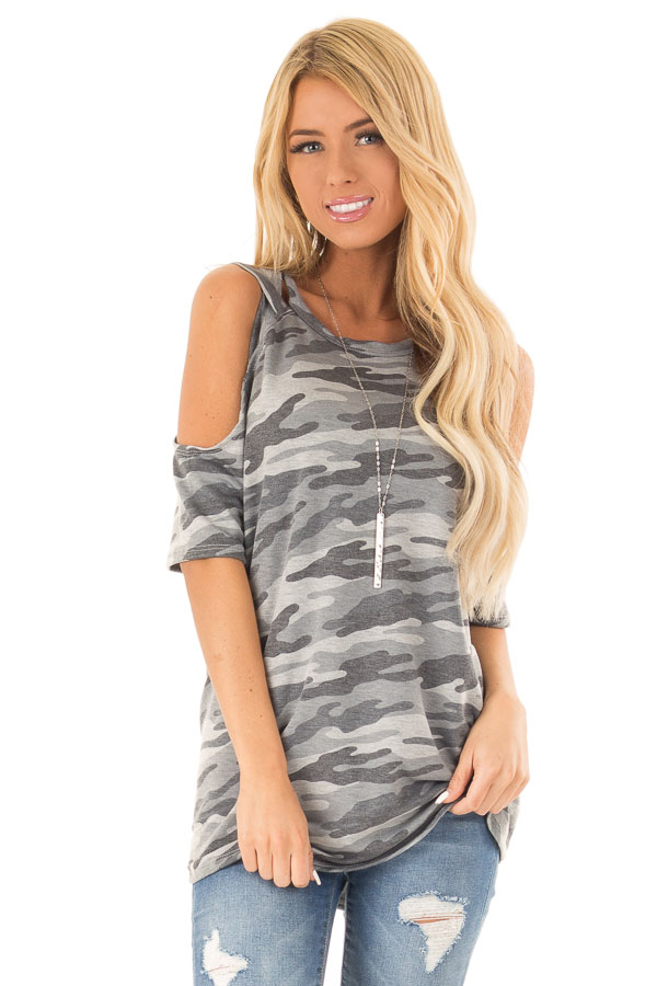 Steel Grey Camo Print Top with Criss Cross Cold Shoulders front close up