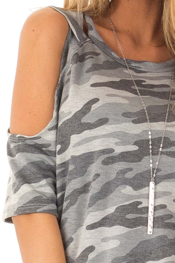 Steel Grey Camo Print Top with Criss Cross Cold Shoulders detail