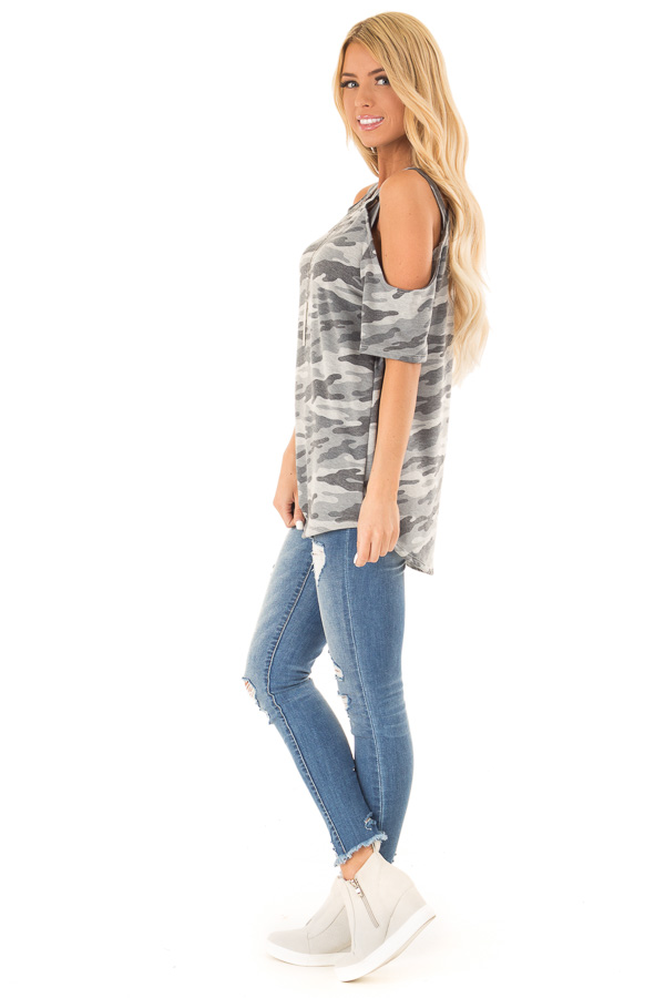 Steel Grey Camo Print Top with Criss Cross Cold Shoulders side full body