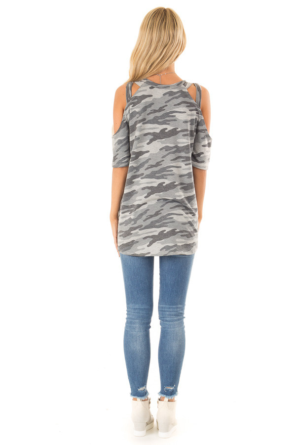 Steel Grey Camo Print Top with Criss Cross Cold Shoulders back full body