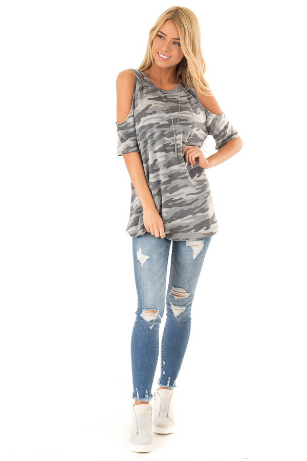 Steel Grey Camo Print Top with Criss Cross Cold Shoulders front full body
