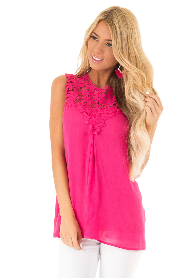 Fuchsia Flowy Cap Sleeve Top with Floral Crochet Yoke front close up