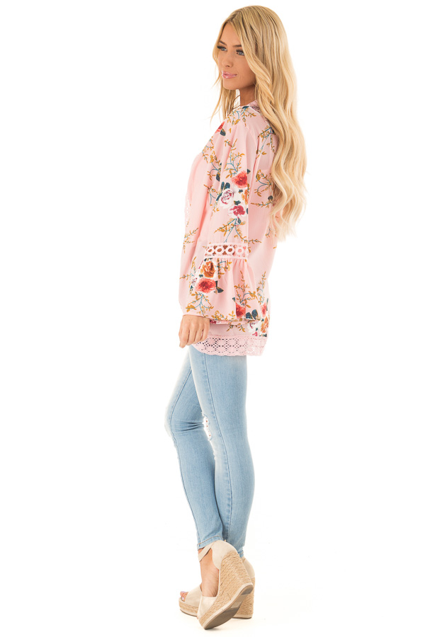 Baby Pink Floral Kimono with Bell Sleeves and Lace Trim side full body