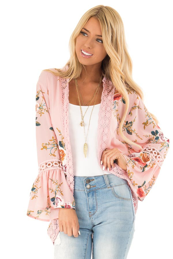 Baby Pink Floral Kimono with Bell Sleeves and Lace Trim front close up
