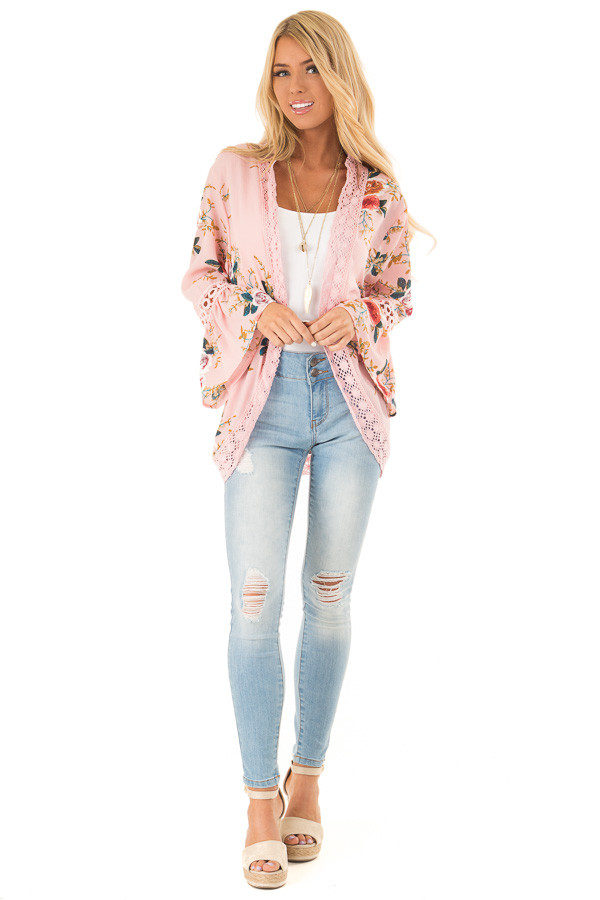 Baby Pink Floral Kimono with Bell Sleeves and Lace Trim front full body