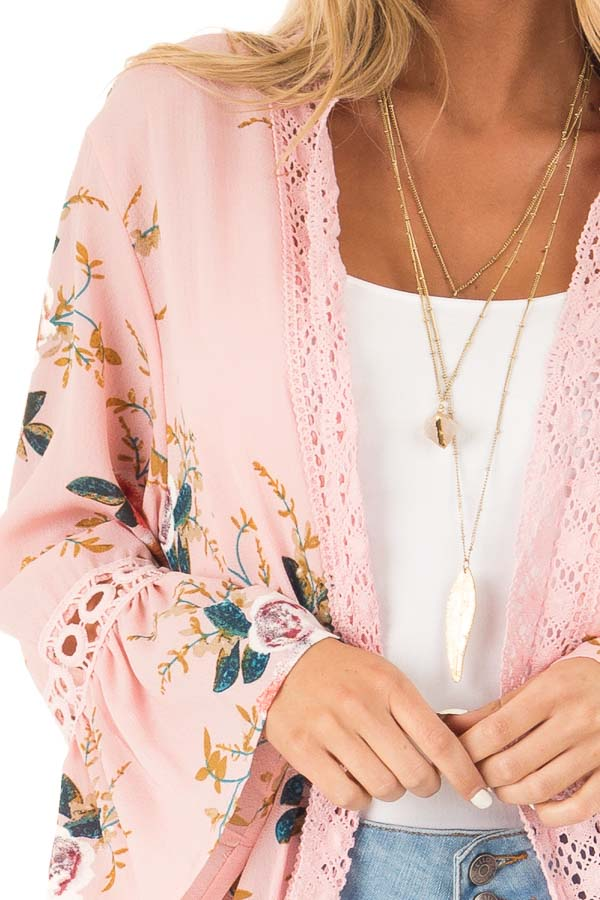 Baby Pink Floral Kimono with Bell Sleeves and Lace Trim detail
