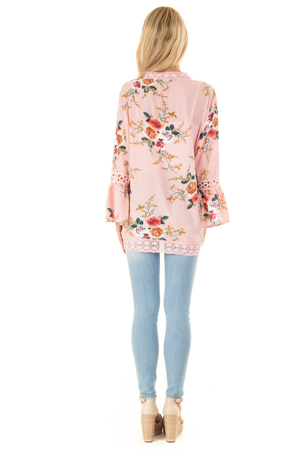 Baby Pink Floral Kimono with Bell Sleeves and Lace Trim back full body