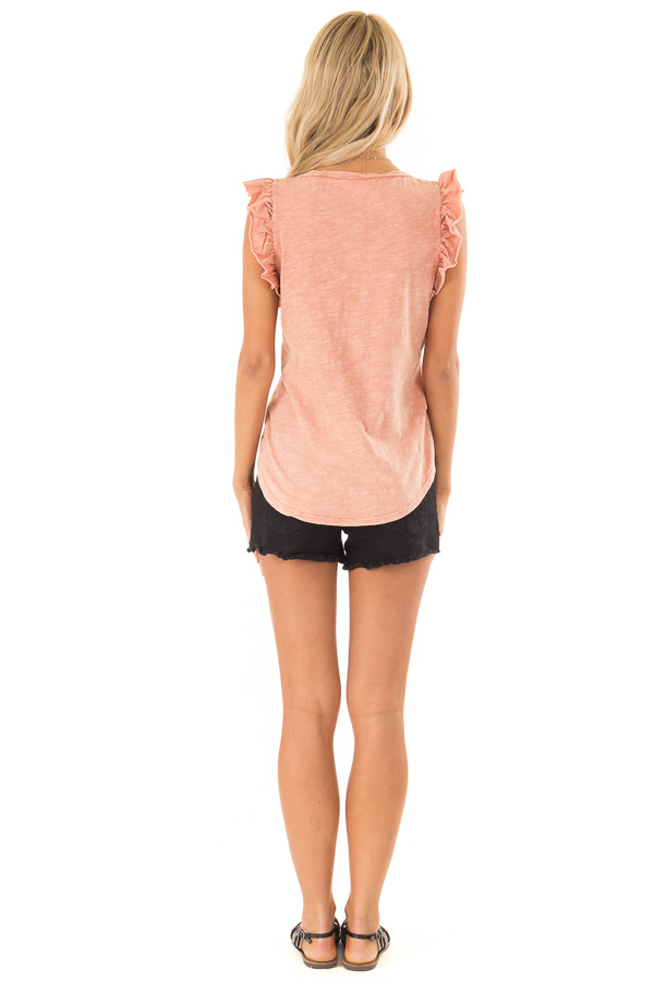 Faded Clay V Neck Top with Cap Sleeve Ruffle Detail back full body