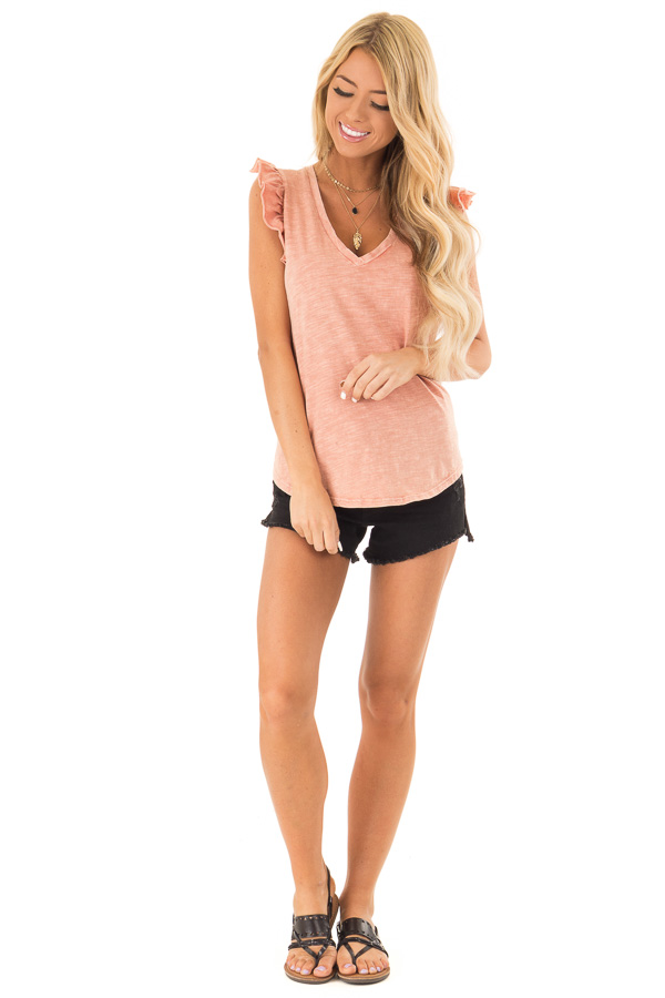 Faded Clay V Neck Top with Cap Sleeve Ruffle Detail front full body