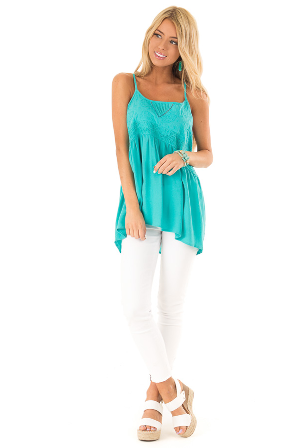 Aqua Sleeveless Embroidered Tank Top with Lace Details front full body