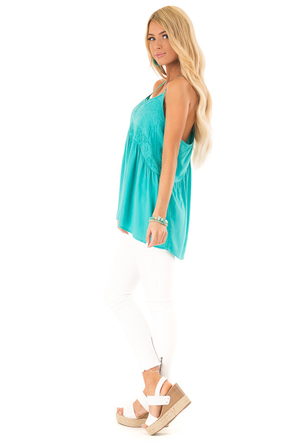 Aqua Sleeveless Embroidered Tank Top with Lace Details side full body