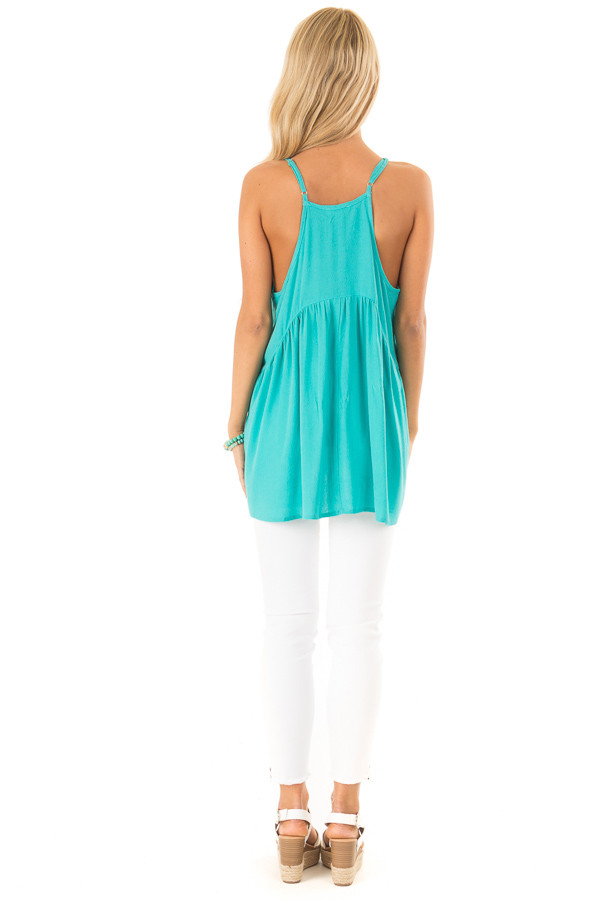 Aqua Sleeveless Embroidered Tank Top with Lace Details back full body