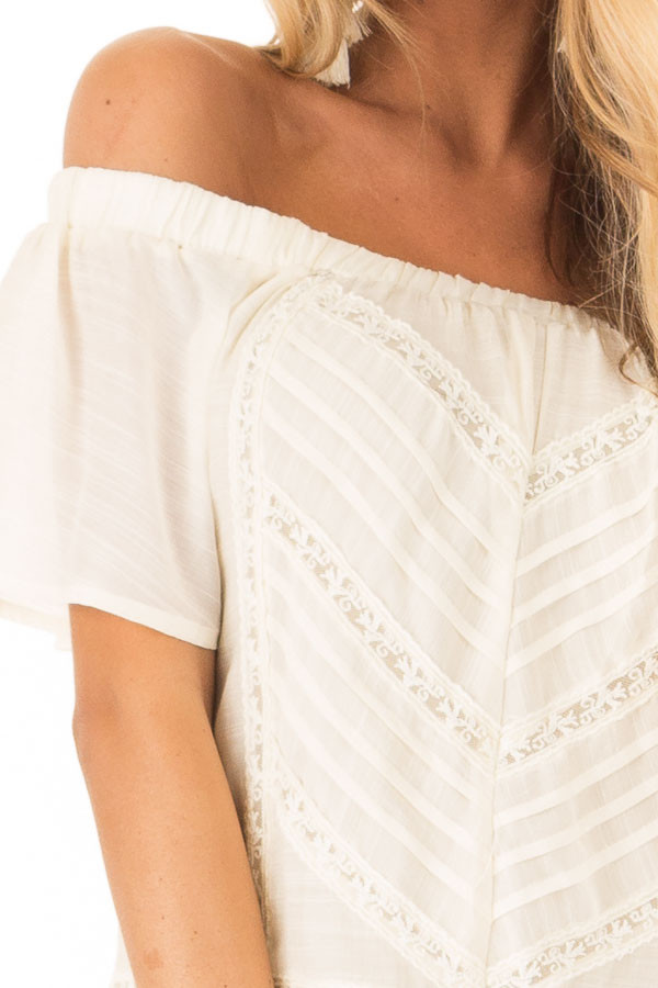 Cream Off the Shoulder Peasant Top with Sheer Lace Details detail