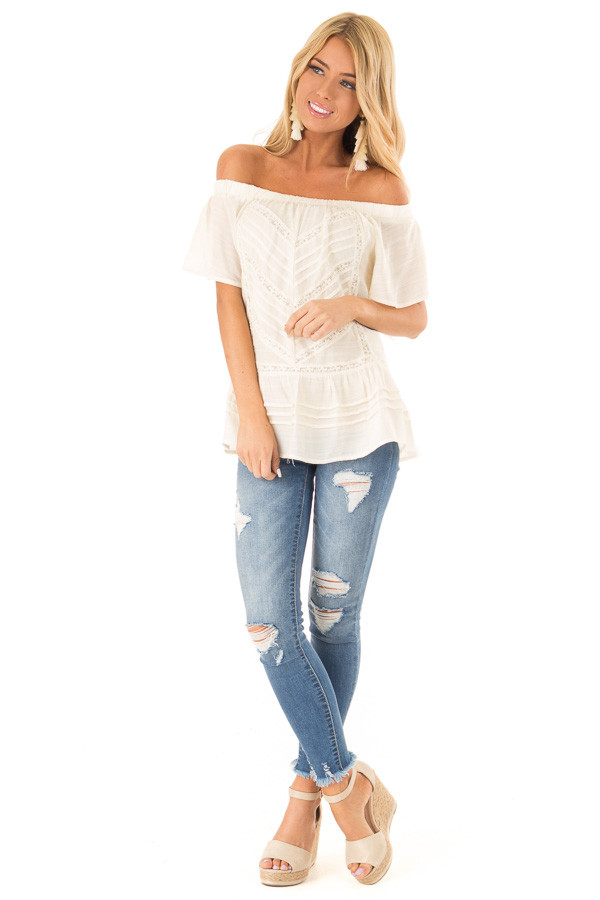 Cream Off the Shoulder Peasant Top with Sheer Lace Details front full body