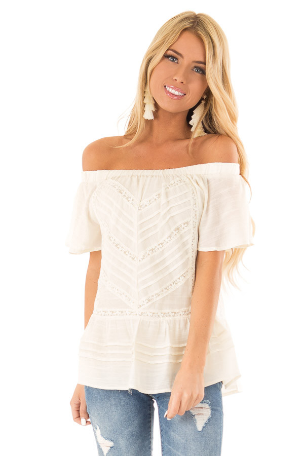 Cream Off the Shoulder Peasant Top with Sheer Lace Details front close up