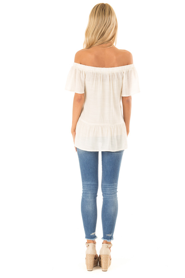 Cream Off the Shoulder Peasant Top with Sheer Lace Details back full body