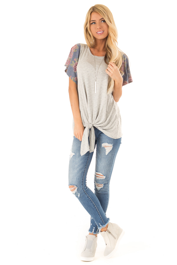 Heather Grey Striped Top with Short Floral Ruffle Sleeves front full body