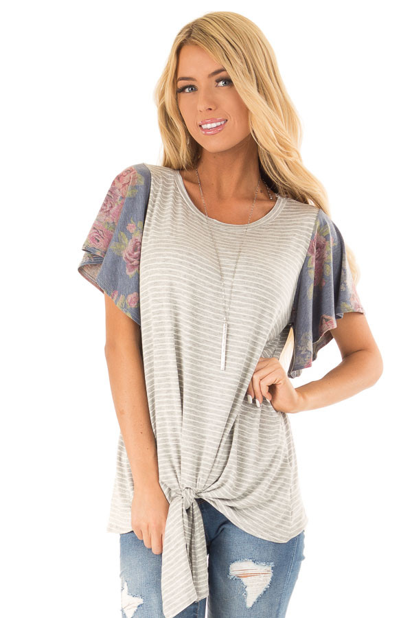 Heather Grey Striped Top with Short Floral Ruffle Sleeves front close up
