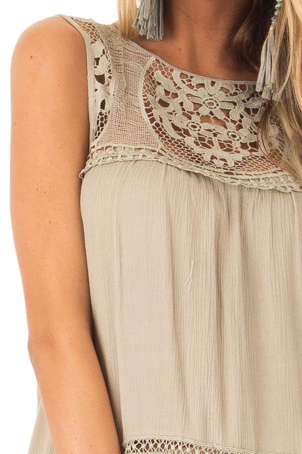 Dusty Sage Sleeveless Top with Sheer Crochet Details detail