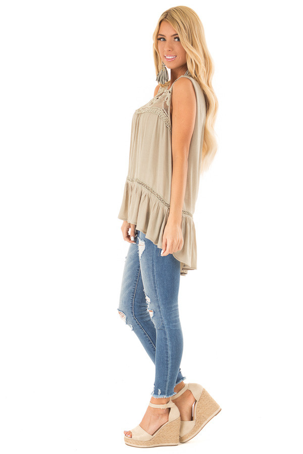 Dusty Sage Sleeveless Top with Sheer Crochet Details side full body