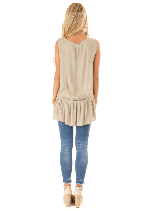 Dusty Sage Sleeveless Top with Sheer Crochet Details back full body