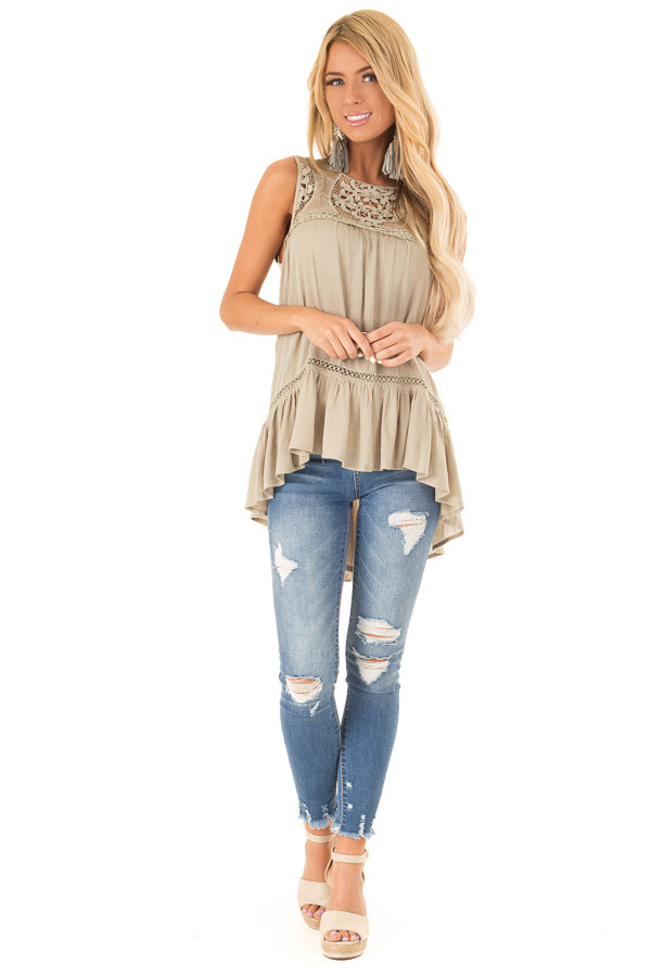 Dusty Sage Sleeveless Top with Sheer Crochet Details front full body