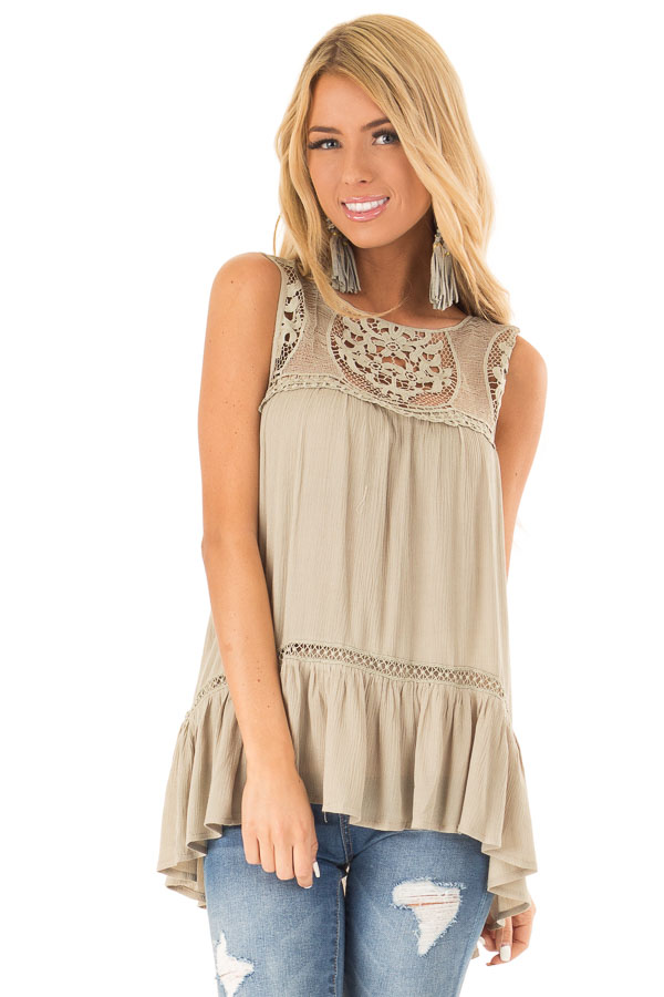 Dusty Sage Sleeveless Top with Sheer Crochet Details front close up
